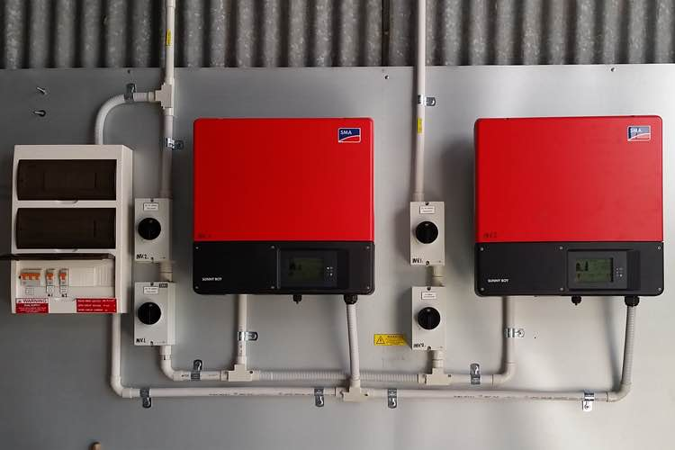 SMA inverters with solar distribution subboard-installed next to it