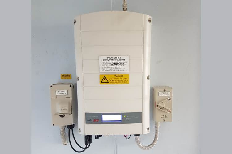 Solar edge inverter installed with wifi monitoring