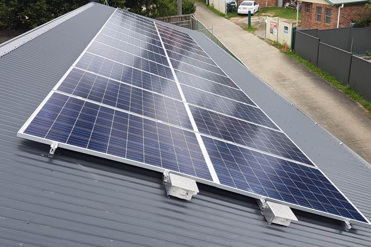corrugated iron roof solar panel installation in Sydney